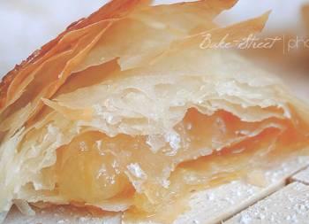Pastas de pera confitada y curd de jengibre