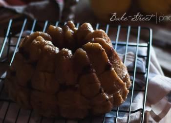Monkey bread de ruibarbo con arándanos