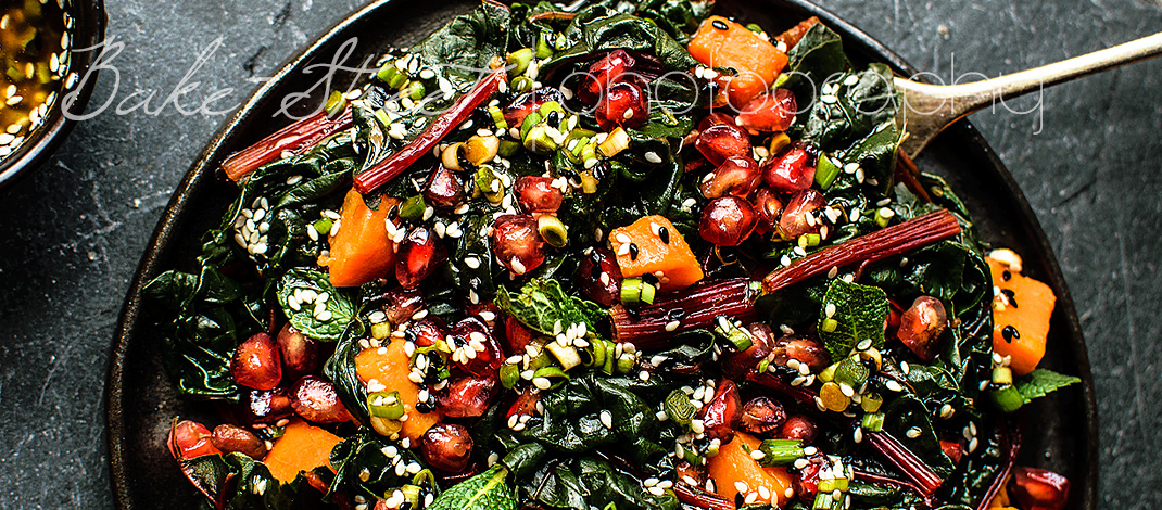 Swiss chard, sweet potato and pomegranate