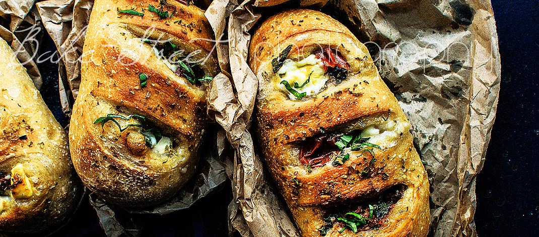 Marinated tomatoes and mascarpone rolls