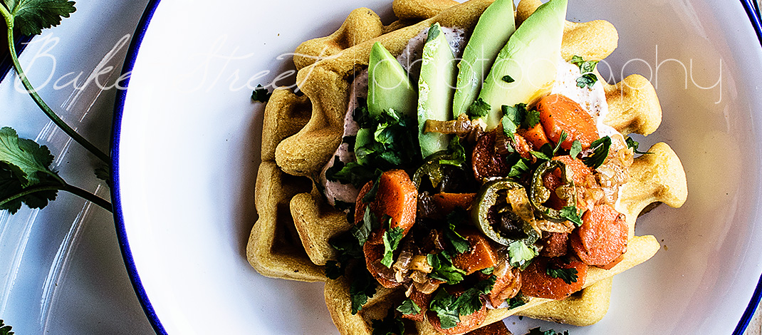 Chickpea waffles with Moroccan carrots