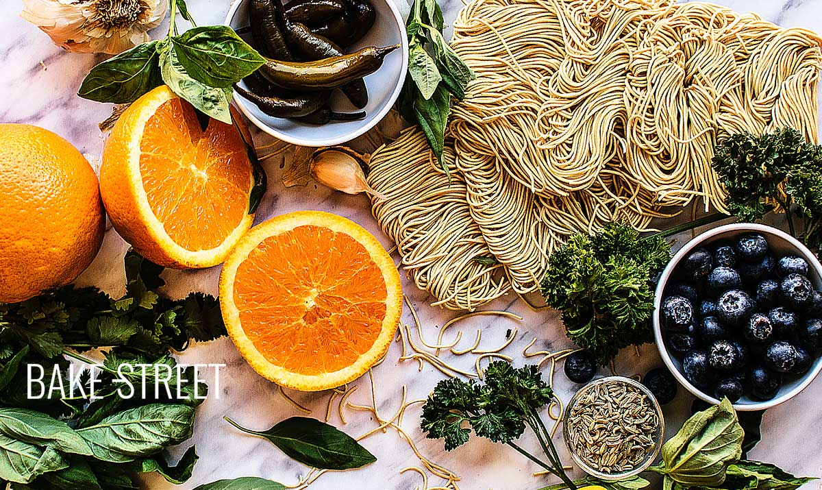 Noodles with caramelized orange and chimichurri
