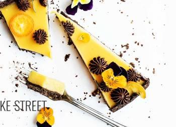 Tarta de naranja, albaricoque y chocolate