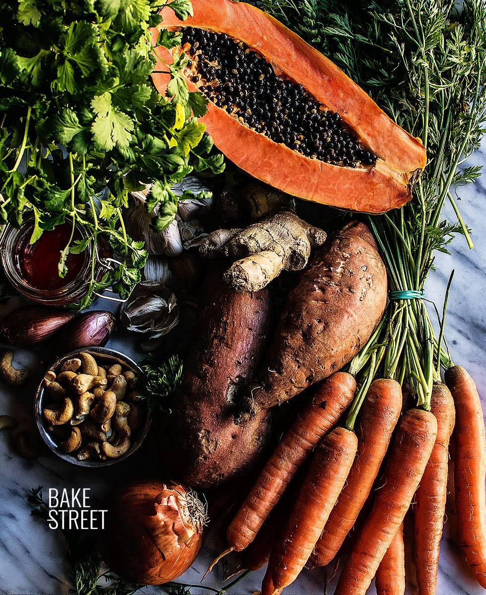 Crema thai de batata y papaya
