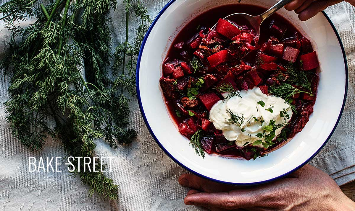 Borscht, traditional Ukrainian soup