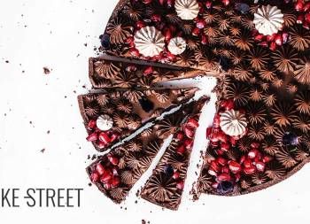 Milk chocolate and pomegranate tart