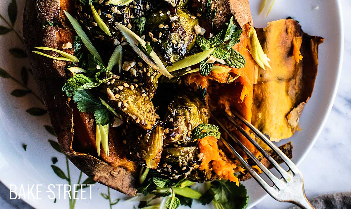 Sweet potatoes stuffed with Kung Pao Brussels sprouts
