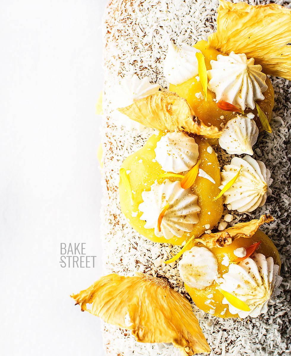 Bizcocho de coco y curd de piña sin gluten