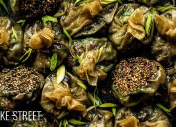 Eggplant, shiitake and wakame dumplings