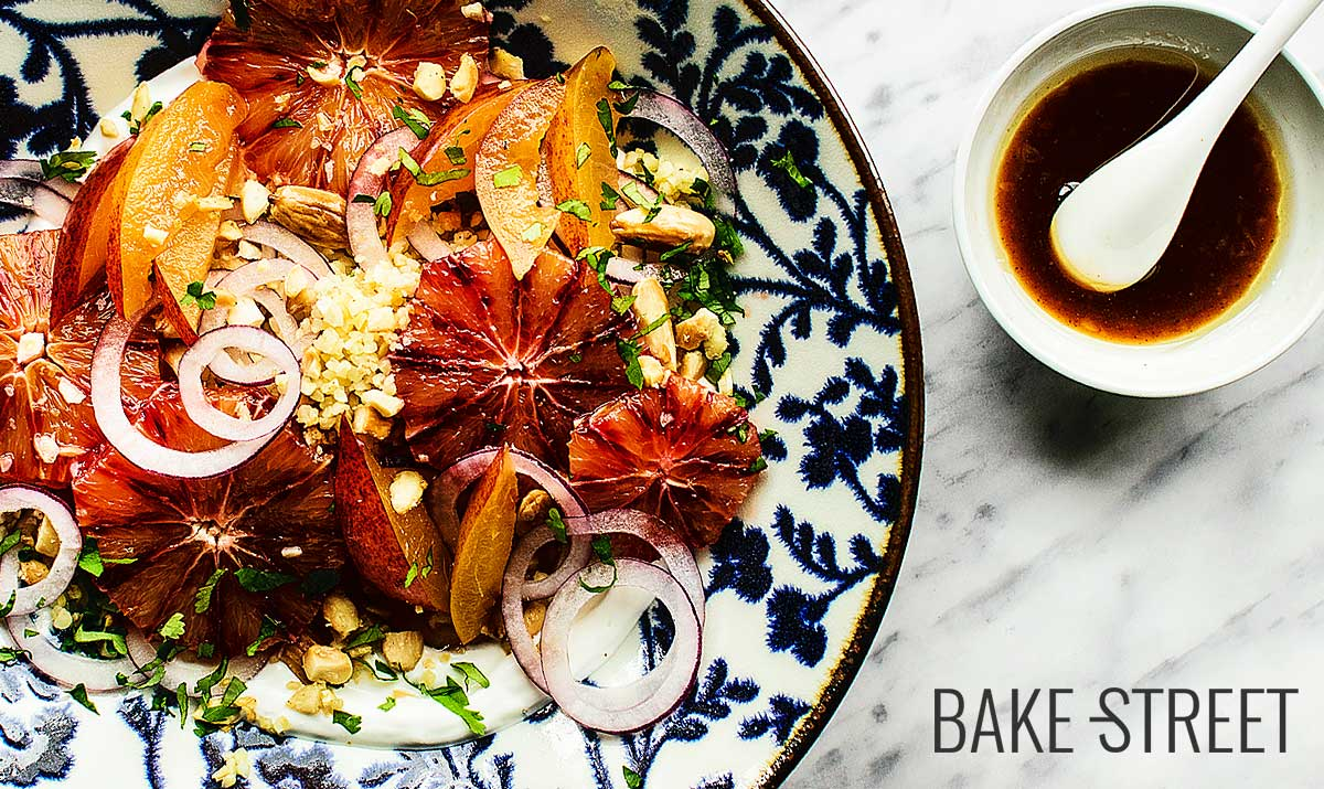 Aromatized bulgur salad with blood orange, plum and yoghurt