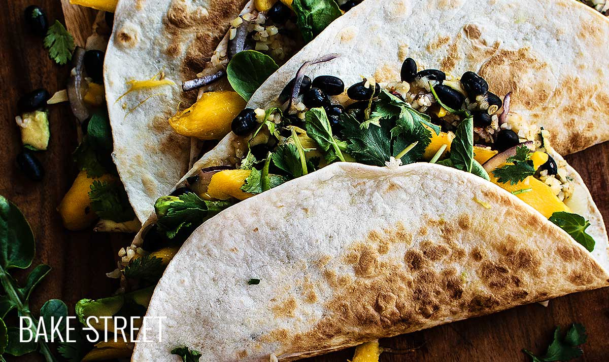 Black bean, bulgur and mango quesadillas