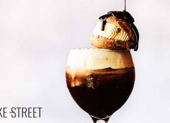 Chilled Irish coffee with cream puff