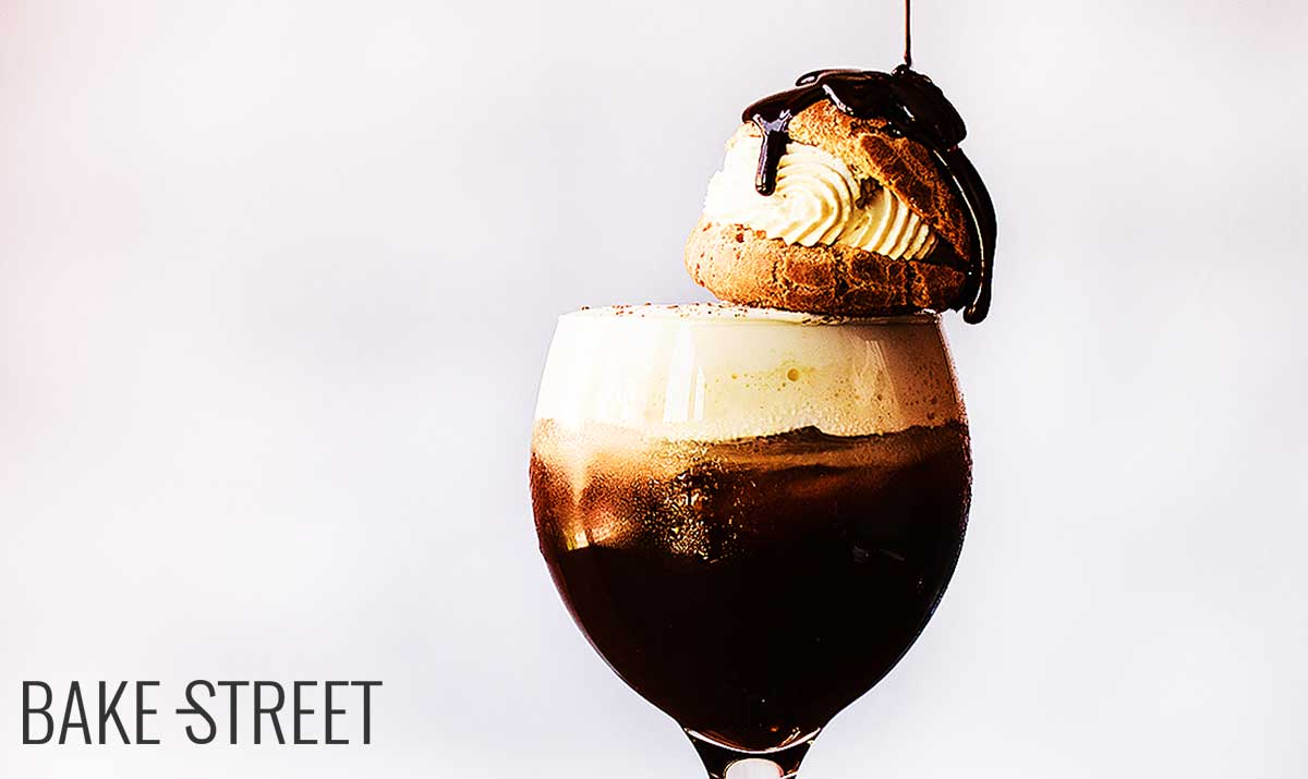 Chilled Irish coffee with cream puff