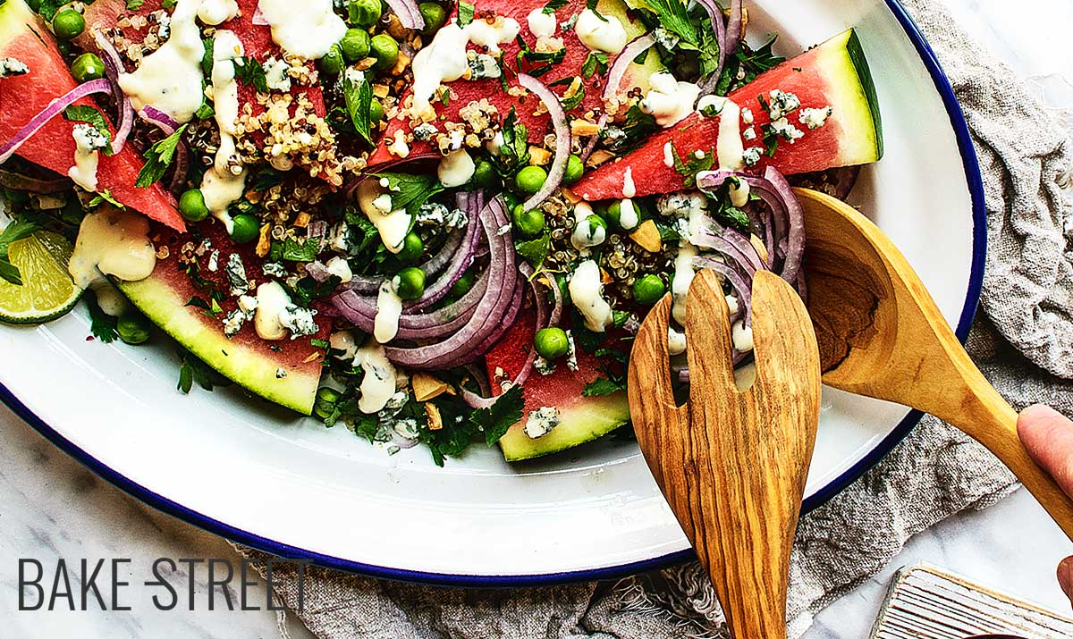 Watermelon, pea and quinoa salad
