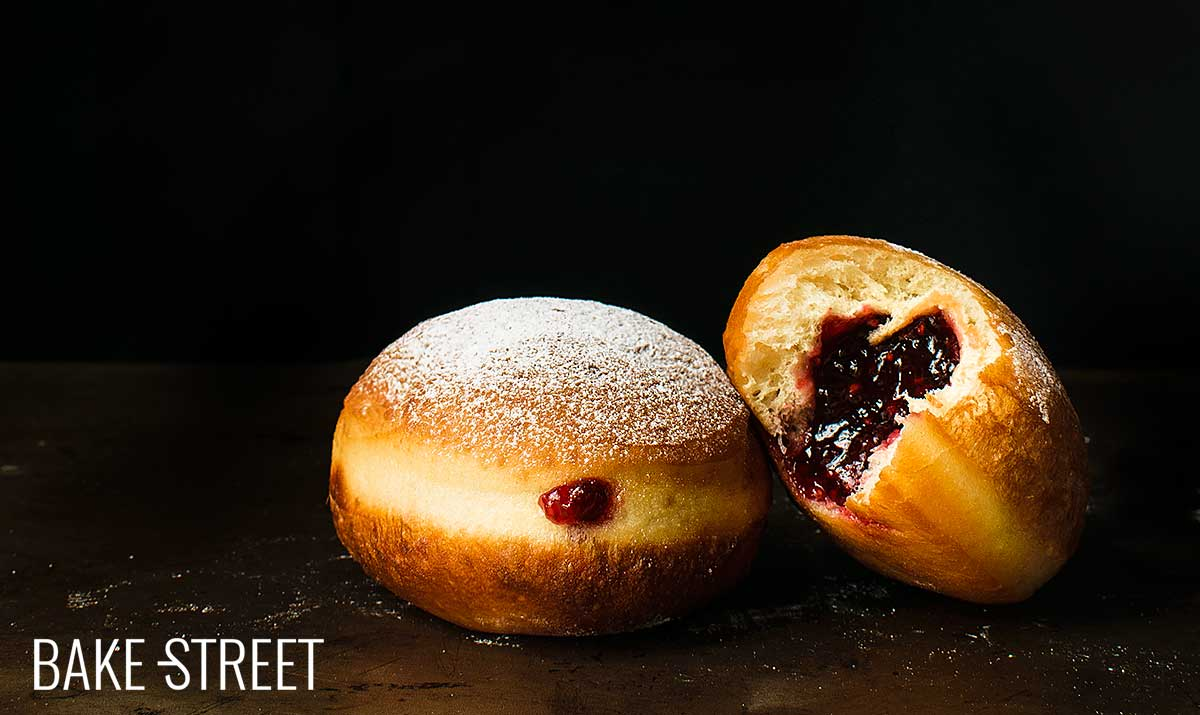 Krapfen, strawberry-filled doughnuts
