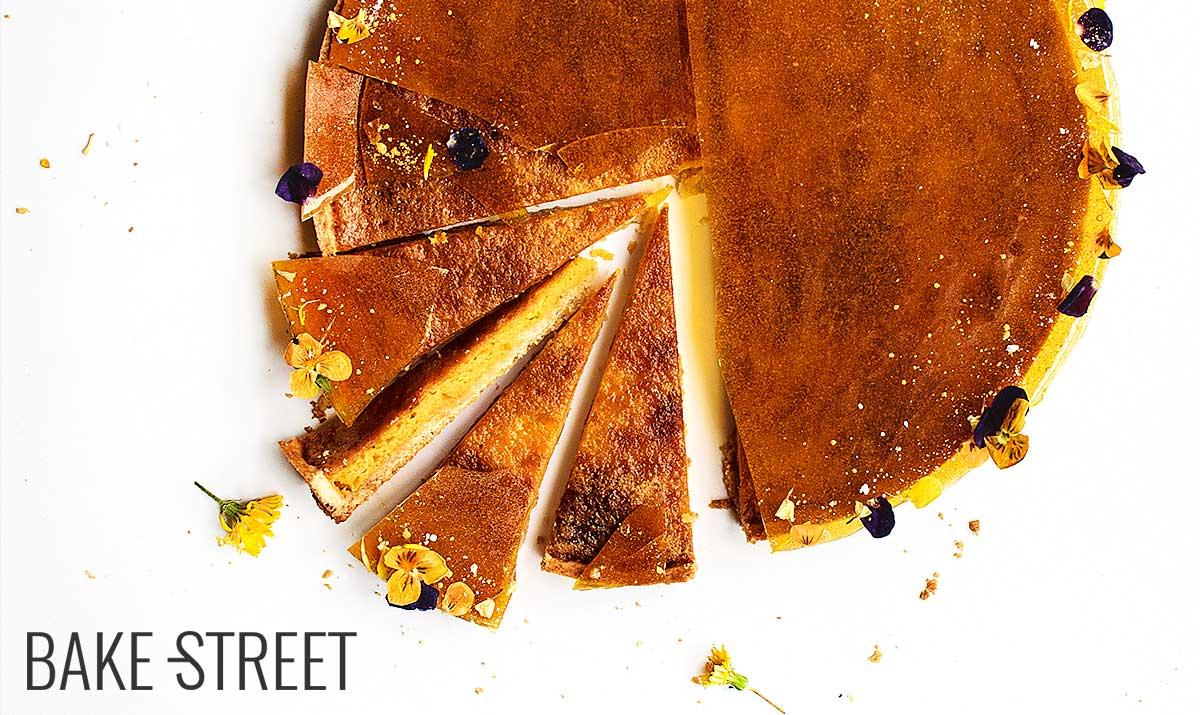 Yolk, orange and caramel tart