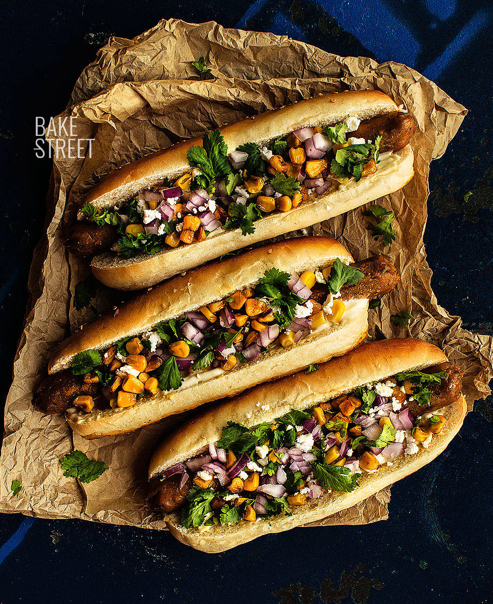 Hot dog con salchicha vegana