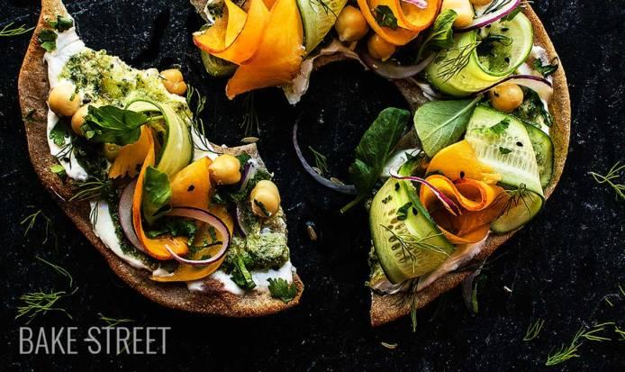 Knäckebröd with watercress pesto and salad
