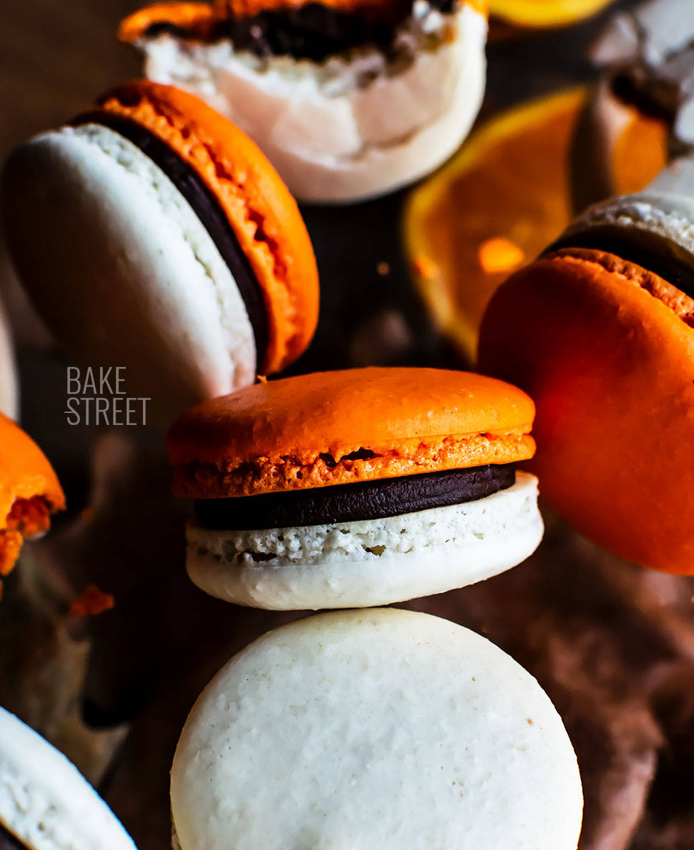 Orange and ginger macarons with chocolate Cointreau ganache