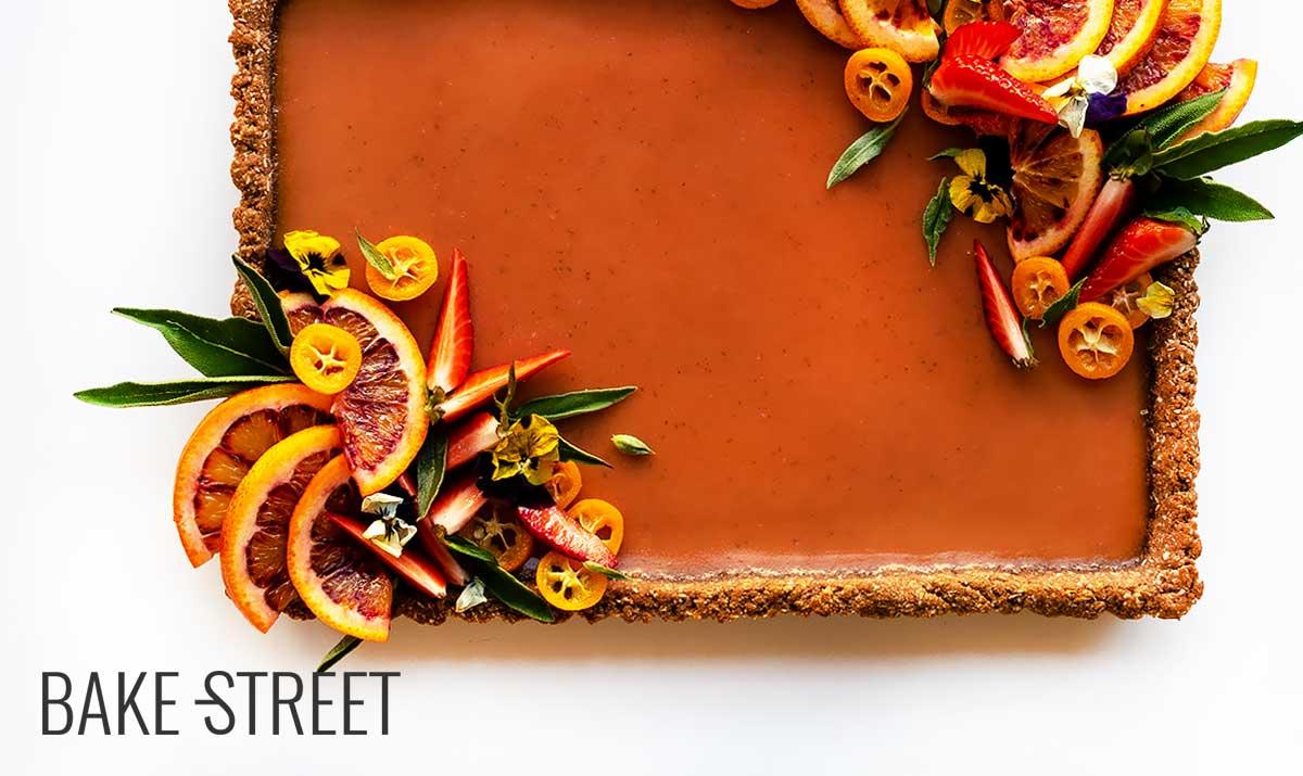 Blood orange, sage and tamarind tart