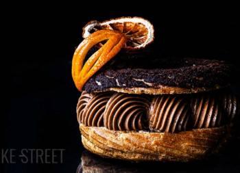 Paris Brest with chocolate mousseline and orange