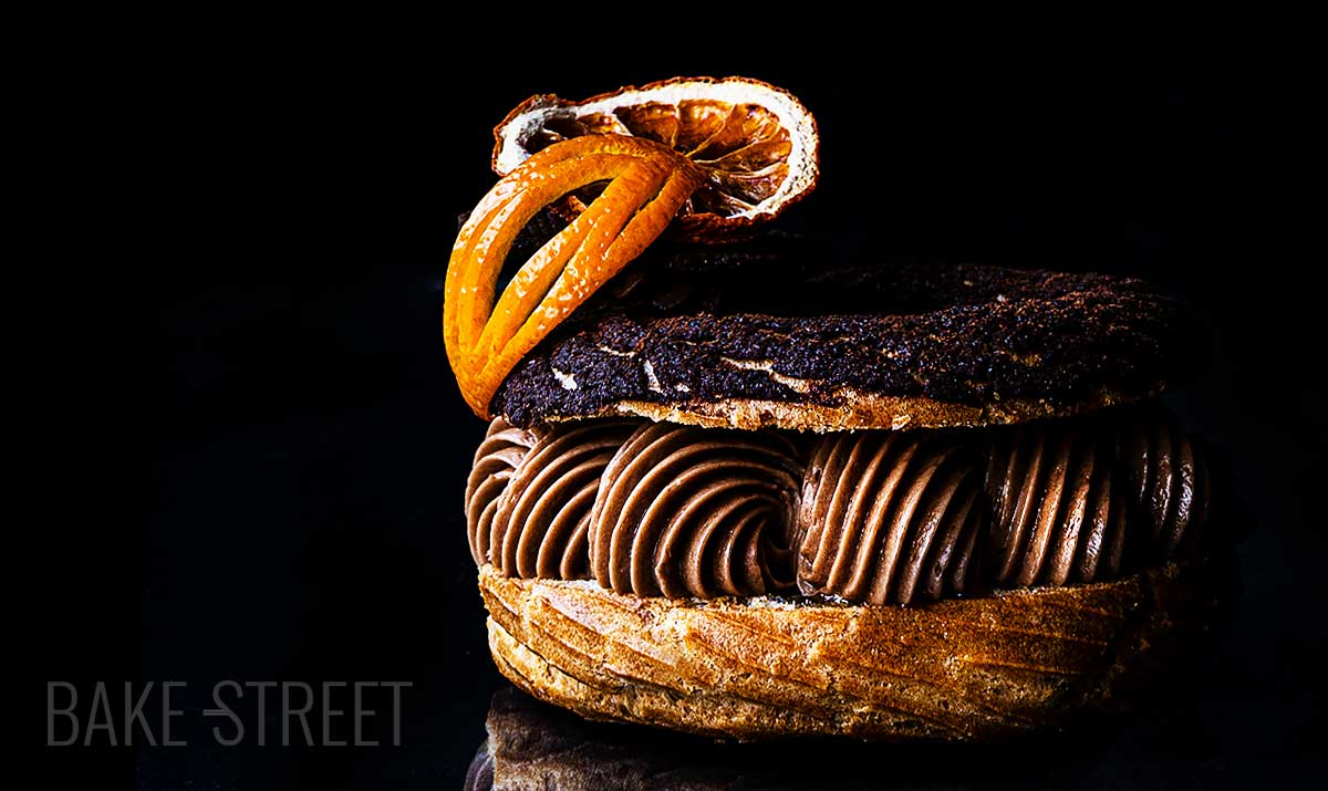 Paris Brest with chocolate mousseline and orange