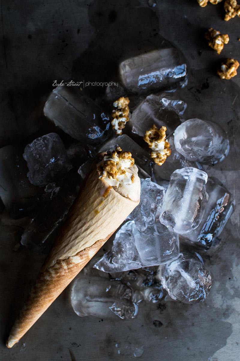 Helado de palomitas con caramelo salado